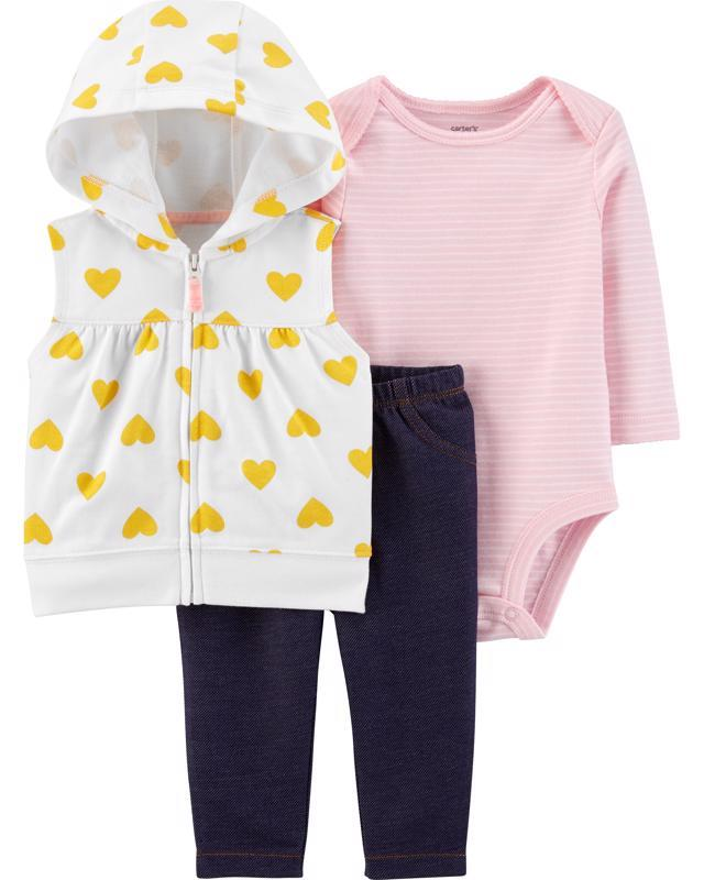 CARTER'S Set 3dielny body krátky rukáv, mikina, nohavice dlhé Hearts dievča 3 m /veľ. 62