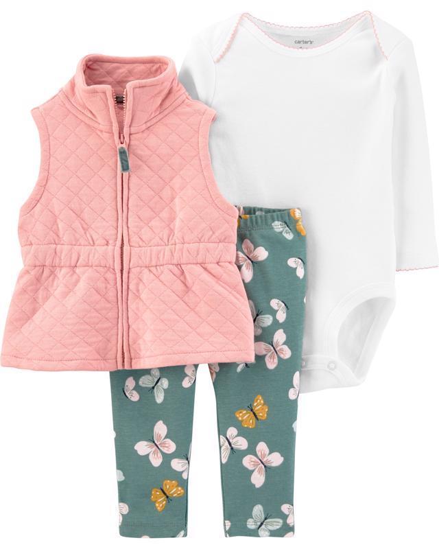 CARTER'S Set 3dílný body, vesta, kalhoty Pink dívka 3 m/vel. 62