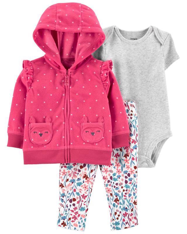 CARTER'S Set 3dielny body krátky rukáv, mikina, nohavice dlhé Pink Dot dievča 6 m /veľ. 68