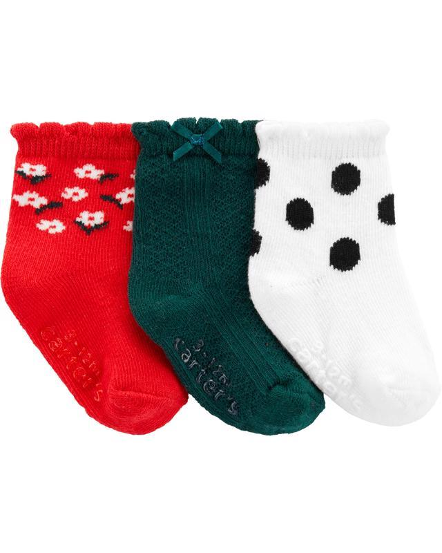 Ponožky 3 ks mix dievča 0-3m