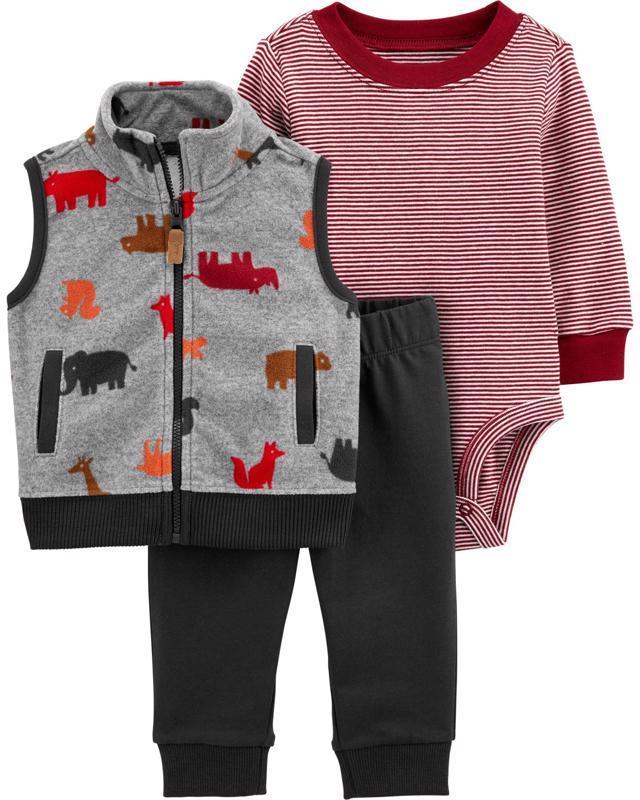CARTER'S Set 3dílný vesta, body, kalhoty chlapec Dino 12 m/vel. 80