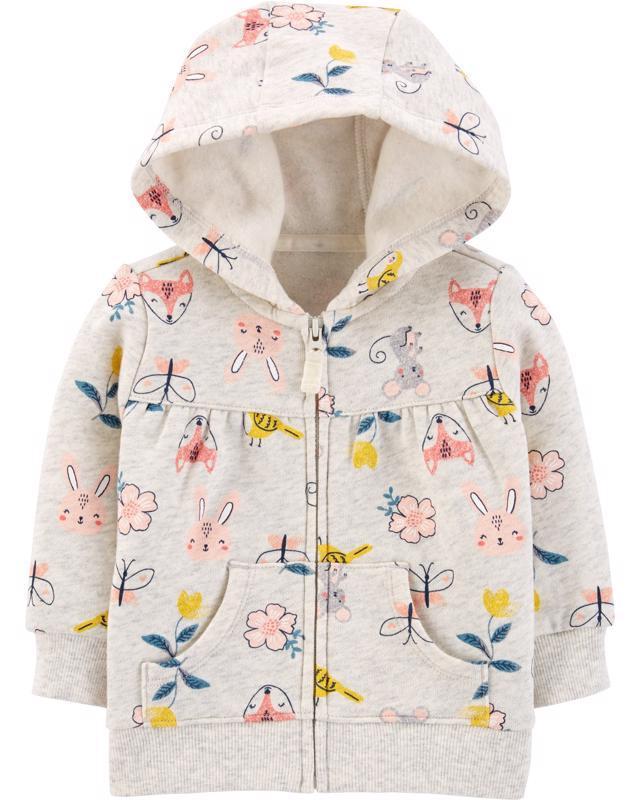 CARTER'S Mikina s kapucňou na zips Floral Hoodie dievča NB/ veľ. 56