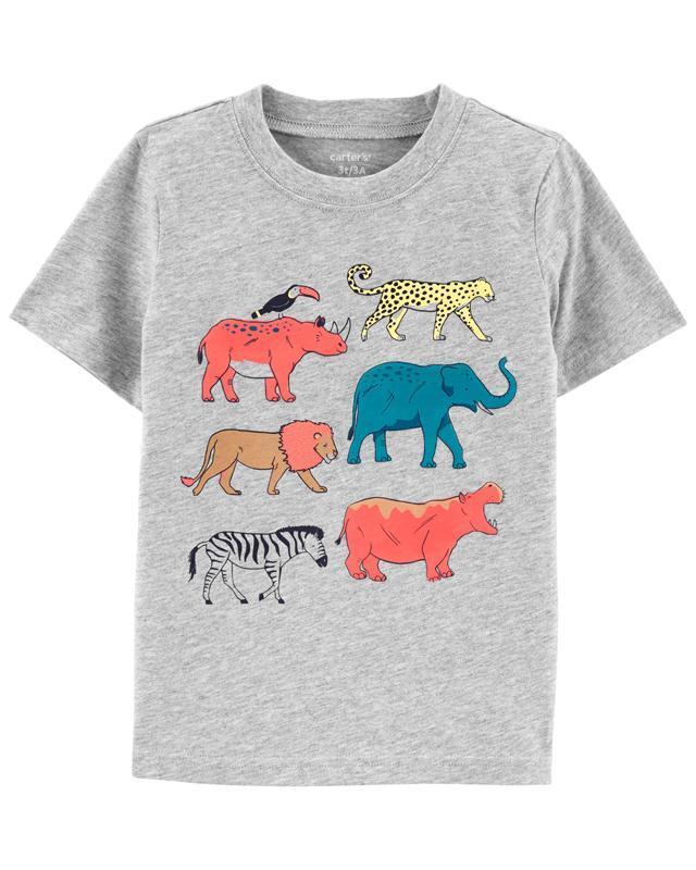 CARTER'S Tričko Grey Animals chlapec 9 m, vel. 74,  V001247