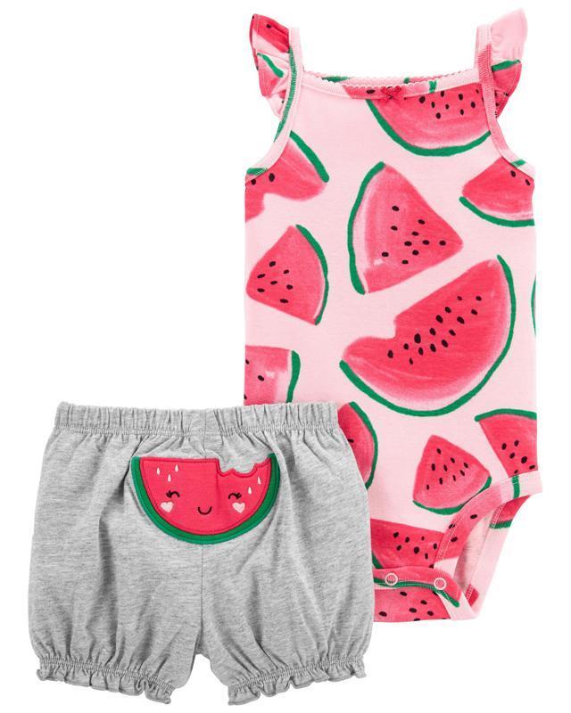 CARTER'S Set 2dielny body tielko, nohavice kr. Pink Watermelon dievča 9 m, vel. 74