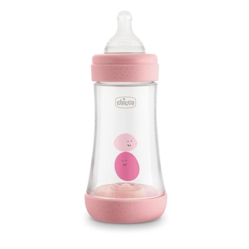 CHICCO Fľaša dojčenská Perfect 5 silikón, 240 ml dievča,  V000926