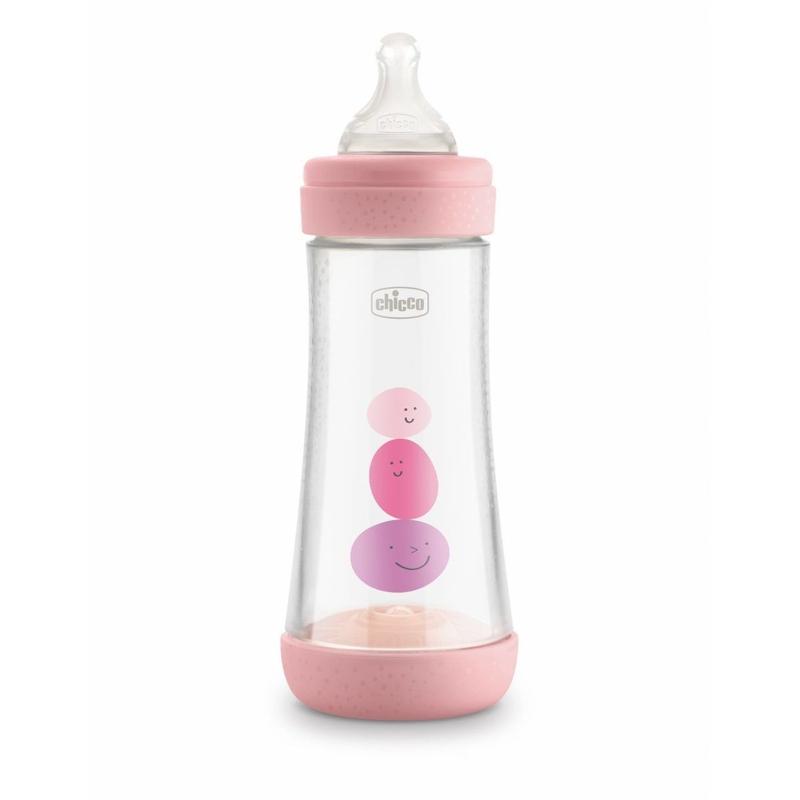 CHICCO Fľaša dojčenská Perfect 5 silikón, 300 ml dievča,  V000926
