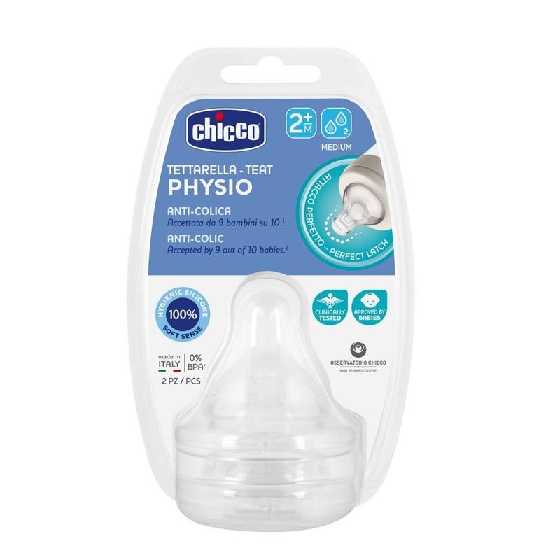 CHICCO Cumlík na fľašu Perfect 5/Well-Being fyziologický stredný prietok 2 ks, 6m+,  V001517