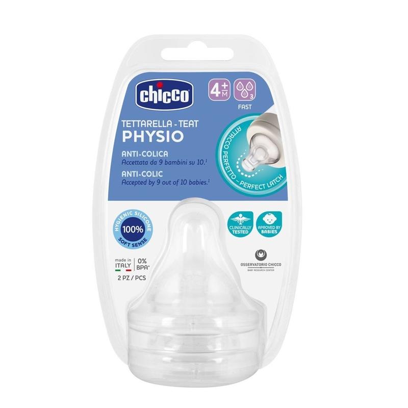 CHICCO Cumlík na fľašu Perfect 5 fyziologický silikón, rýchly prietok 4 m+, 2 ks