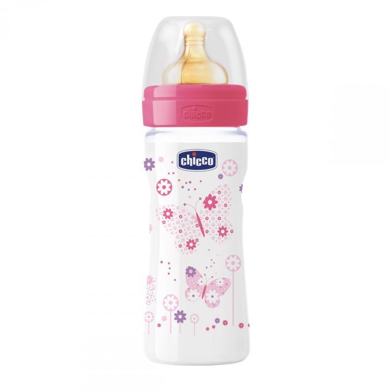 Fľaša bez BPA Well-Being kaučukový cumlík stredný 250ml, ružová