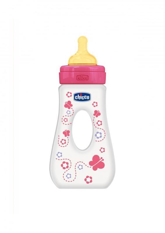 Fľaša Well-Being 0%BPA, 240ml slza, kaučuk., rýchly prietok, ružová