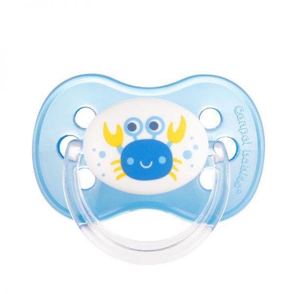CANPOL BABIES Cumlík silikonový čerešnička Nature 6-18m modrý