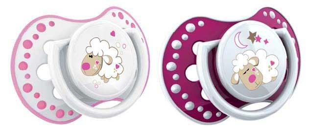 LOVI Silikónový cumlík dynamický Night&Day 0-3m 2 ks - ružová ovečka, dievča
