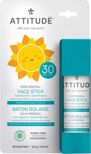 ATTITUDE Detská 100% minerálna ochranná tyčinka na tvár a pery (SPF 30) bez vône 18,4 g