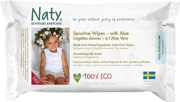 Obrúsky vlhčené Aloe Sensitive Eco 56ks Naty Nature Babycare