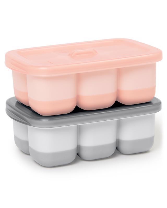 Nádobky na uskladnenie jedla s flexibilným dnom Easy Fill Grey,Coral 12 porcií x 60ml