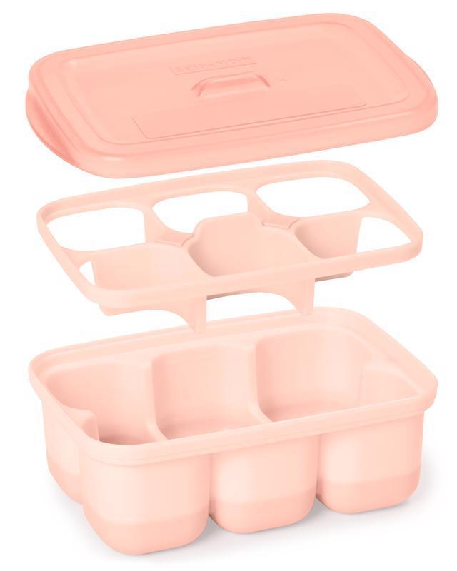 SKIP HOP Nádobky na uskladnenie jedla s flexibilným dnom Easy Fill Grey,Coral 12 porcií x 60 ml