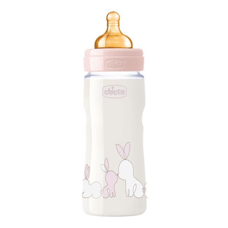 Fľaša dojčenská Chicco Original Touch latex, 330ml - dievča