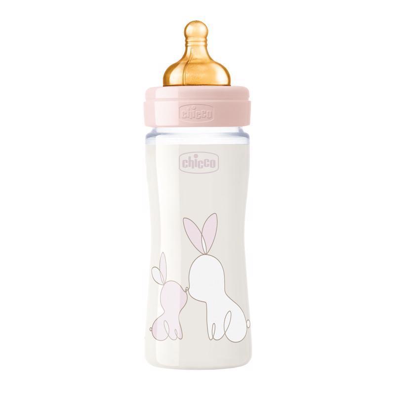 Fľaša dojčenská sklo Chicco Original Touch latex, 240ml - dievča