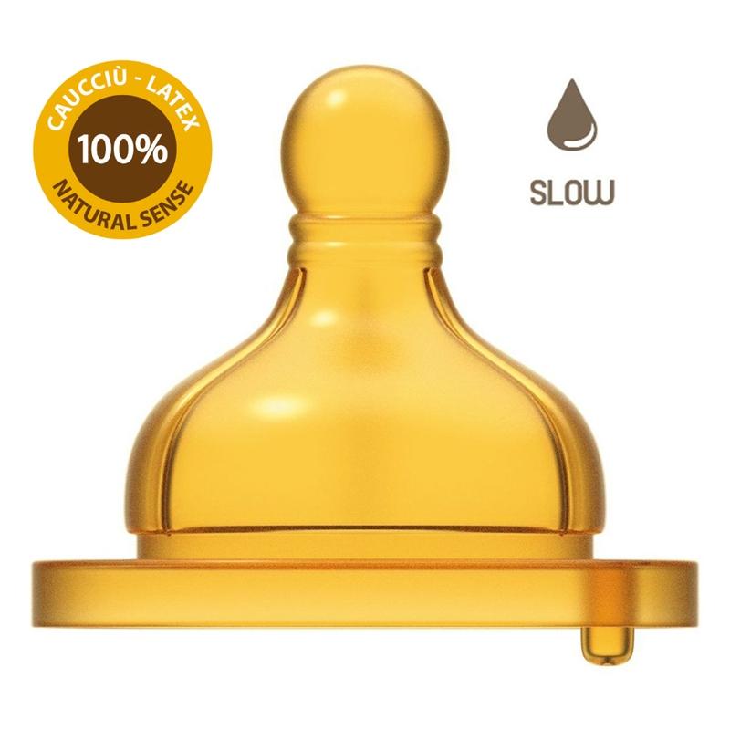 CHICCO Cumlík na fľašu Original Touch latex, pomalý 2 ks,  V001516