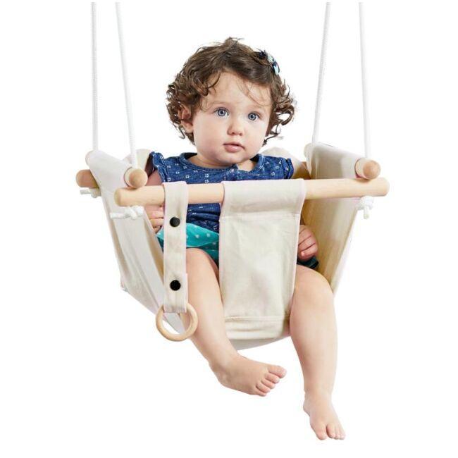 DVĚ DĚTI Detská textilna hojdačka 100% bavlna béžová