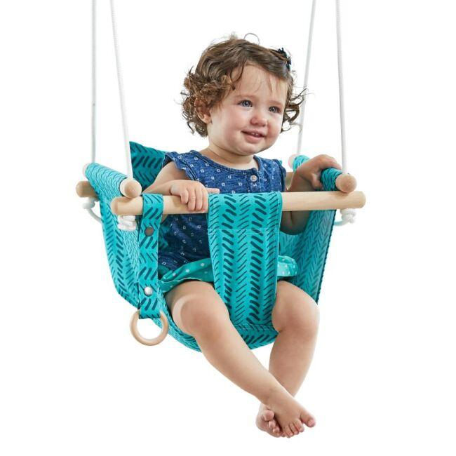 DVĚ DĚTI Detská textilna hojdačka 100% bavlna tyrkysová