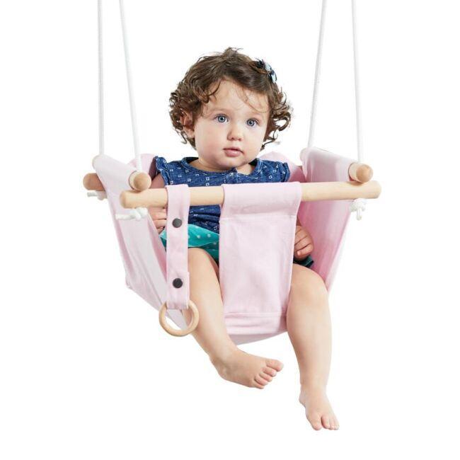 DVĚ DĚTI Detská textilna hojdačka 100% bavlna ružová