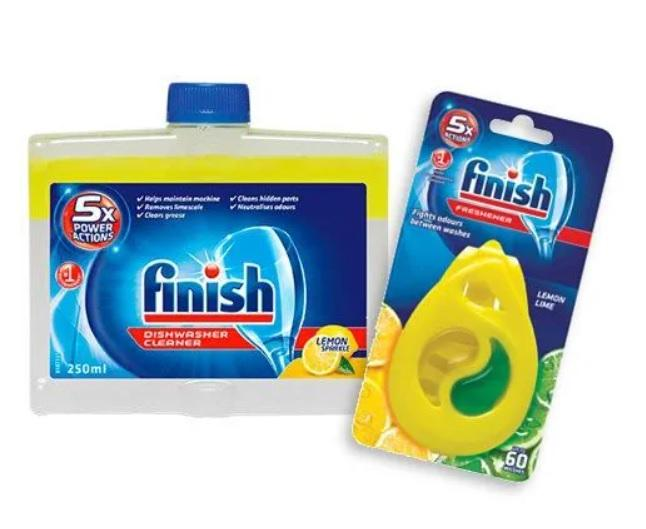 FINISH Čistič umývačky riadu Lemon 250 ml + osviežovač DEO Lemon