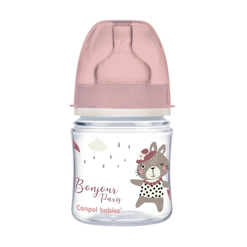 CANPOL BABIES Fľaša so širokým hrdlom Bonjour Paris 120 ml ružová