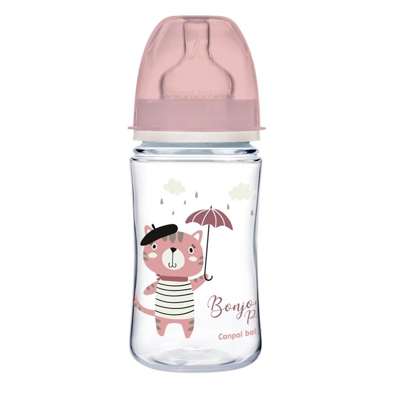 CANPOL BABIES Fľaša so širokým hrdlom Bonjour Paris 240 ml ružová