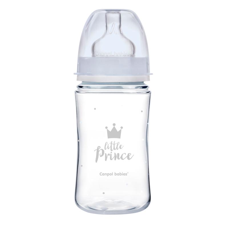 CANPOL BABIES Fľaša so širokým hrdlom Royal Baby 240 ml modrá