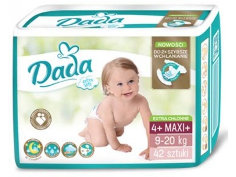 DADA Jednorázové plienky Extra Soft Maxi, veľ.  4+ ( 9-20 kg), 42 ks,  V001265