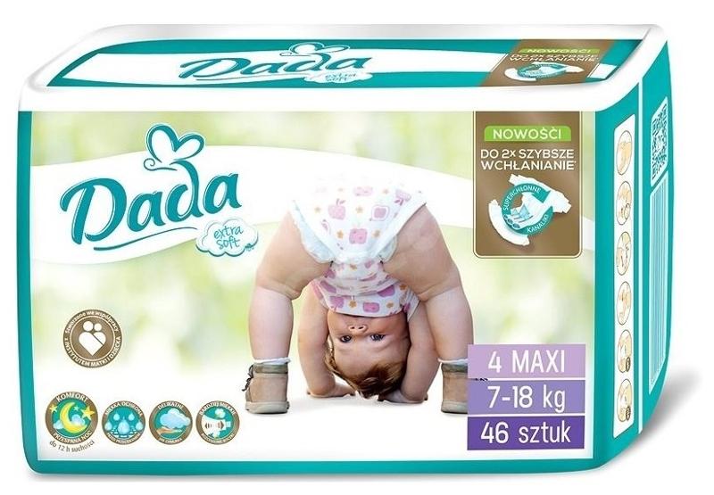 DADA Jednorázové plienky Extra Soft Maxi veľ. 4 (7-18 kg), 46 ks,  V001265
