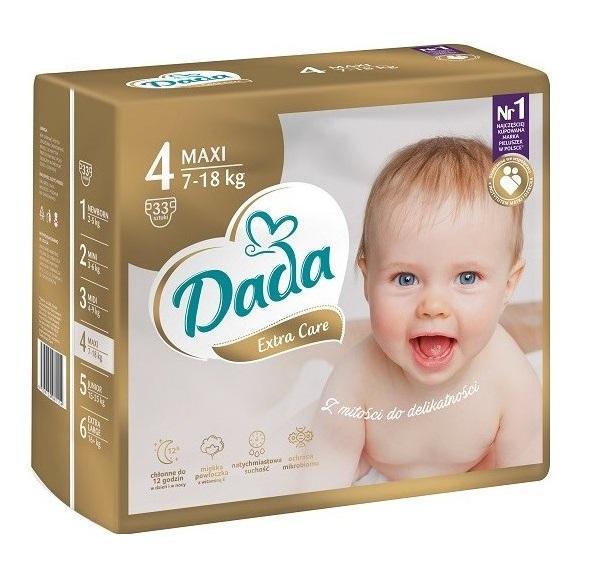 DADA Jednorázové plienky Extra Care Maxi veľ.  4 (7-18 kg), 33 ks,  V001264