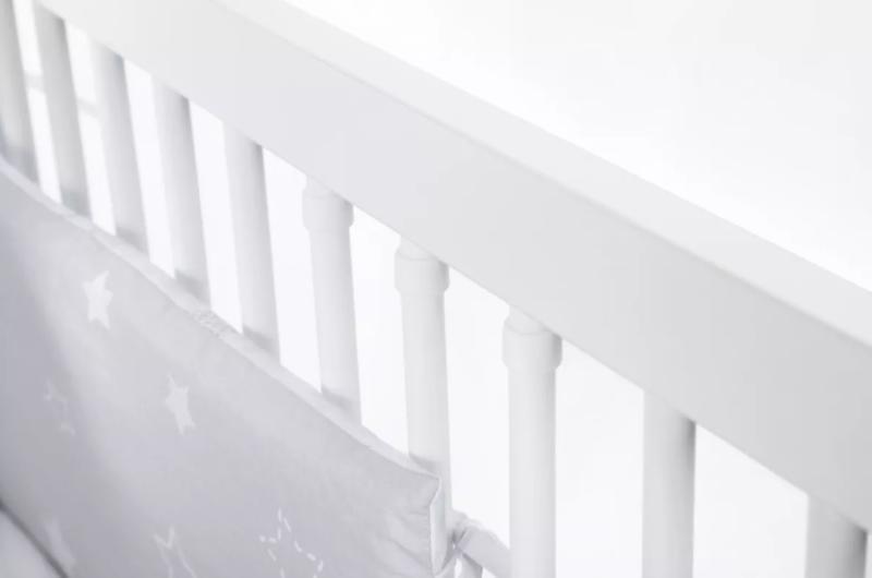 KLUPS Postieľka detská NATI - Štvorlístok 120x60 cm bielo-šedá