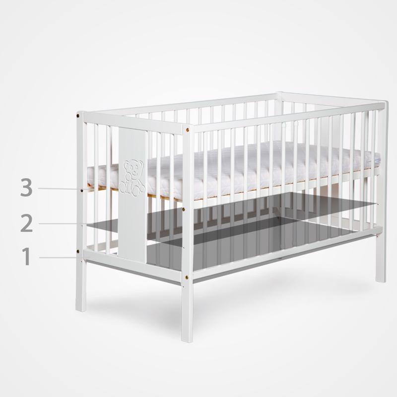 Postieľka detská NATI - Štvorlístok 120x60 cm bielo-šedá