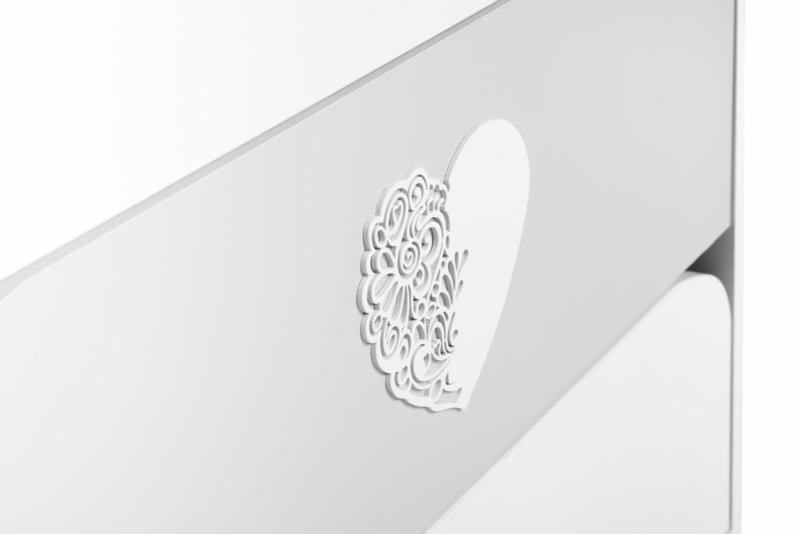 KLUPS Komoda NEL s prebaľovacím pultíkom bielo-šedá - Srdce