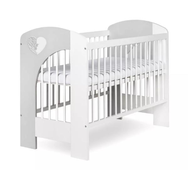 KLUPS Postieľka detská NEL Srdce 120x60 cm bielo-šedá,  V000644