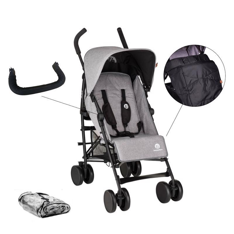 PETITE&MARS Set kočík golfový Musca - Shadow Grey + madlo + nánožník + pláštenka