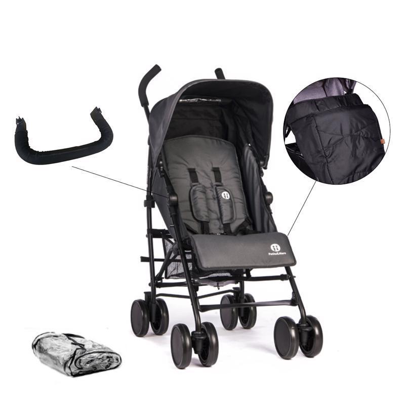 PETITE&MARS Set kočík golfový Musca - Carbon Grey + madlo + nánožník + pláštenka