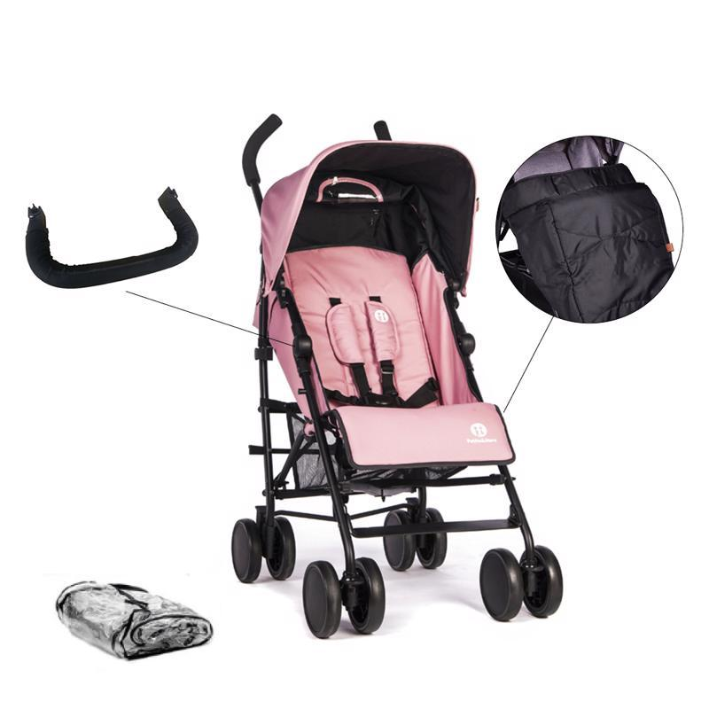 PETITE&MARS Set kočík golfový Musca - Rose Pink + madlo + nánožník + pláštenka