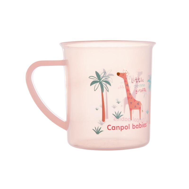 CANPOL BABIES Hrnček plastový Afrika 170 ml - ružový