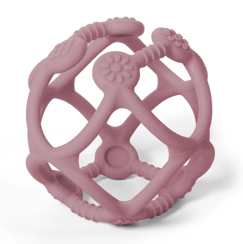 BABYONO Hryzačka silikónová Ortho loptička 0m+ pink