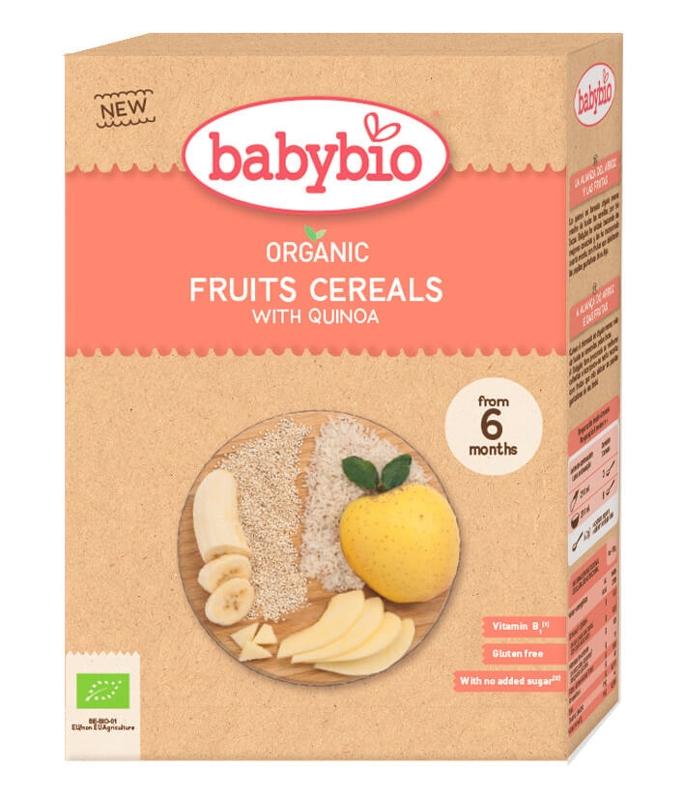 BABYBIO Nemliečna ryžová bio kaša s quinoa a ovociami (200 g)