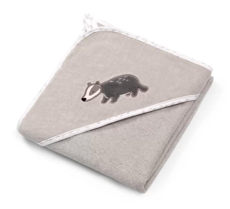 BABYONO Osuška s kapucí Velour 100 x 100 grey