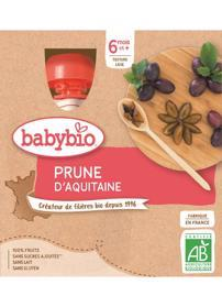 BABYBIO Švestka (4x 90 g) - ovocný příkrm