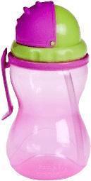 Fľaša športová so slamkou 370ml - ružová