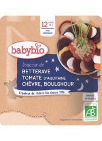 BABYBIO Řepa s rajčaty, kozím sýrem a bulgurem (190 g) - zeleninový příkrm