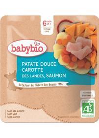 BABYBIO Sladké brambory s mrkví a lososem (190 g) - masozeleninový příkrm