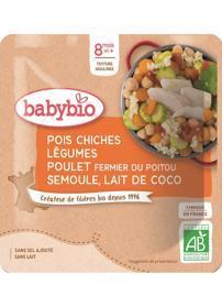 BABYBIO Cizrna se zeleninou, kuřecím masem a kokosovým mlékem (190 g) - masozeleninový příkrm
