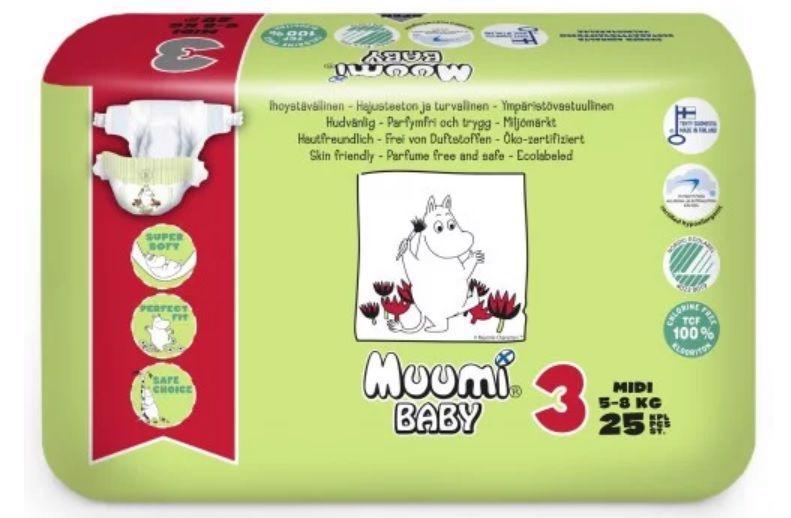 Plienky jednorázové 3 Midi 5-8kg 25ks Baby Muumi